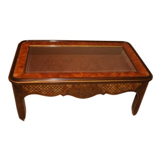 Drexel Curio Glass Top & Burled Wood Coffee Table