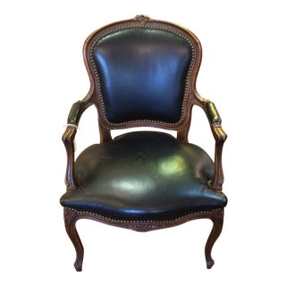 French Style Carved Wood & Leather Chair