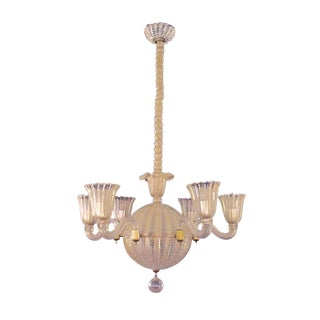 Mid-Century Murano, Six Light Spheroid Chandelier by Dino Martens