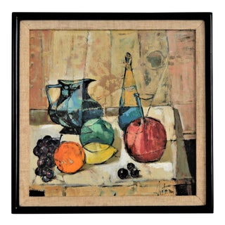 1950s Mid-Century Modern Cubist Oil Painting by Kero Sarkis Antoyan