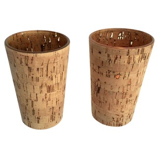 1970s Cork Candle Holders - A Pair