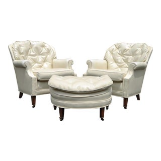 Vintage Hollywood Regency Tufted Club Chairs & Ottoman - Set of 3