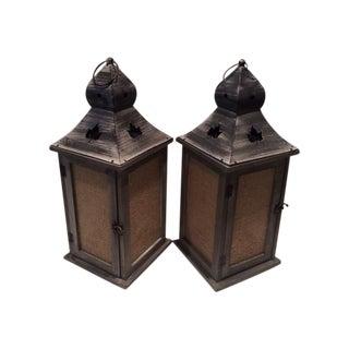 Rustic Maple Leaf Motif Lanterns - Pair