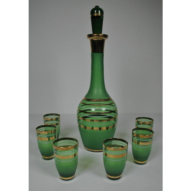 1960's Green Glass Bohemian Decanter Set - Image 4 of 6