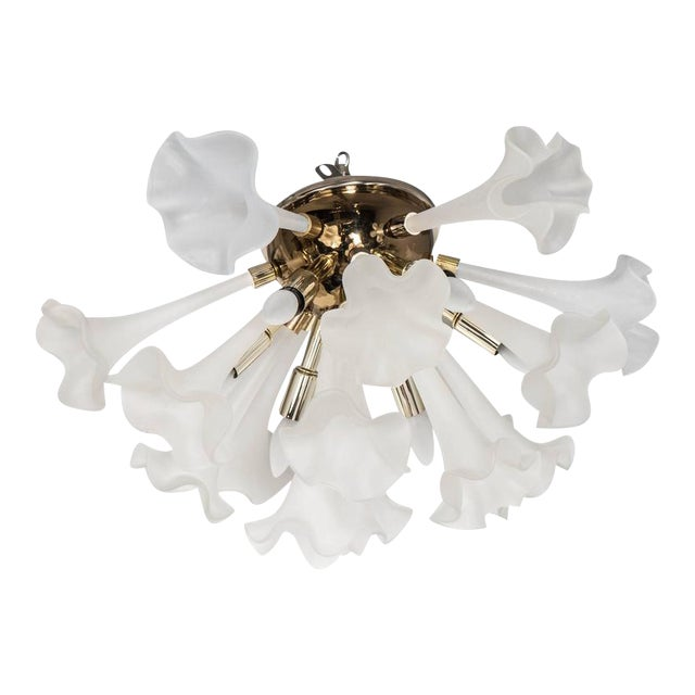 Handblown Flush Mount Murano Chandelier in Brass with Frosted Glass Flowers - Image 1 of 9