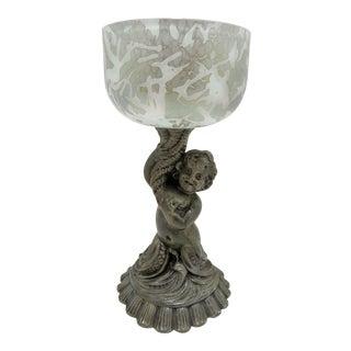 Vintage Cherub Mermaid Figural Cased Art Glass Compote Dish