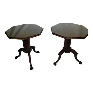 W. Switzer French Empire Marquetry Octagon Tables - A Pair