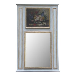 French Trumeau Mirror With Original Oil Painting