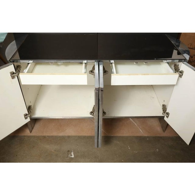 Image of Modern Vintage Ello Chrome, Smoked Glass and Mirror Credenza or Sideboard