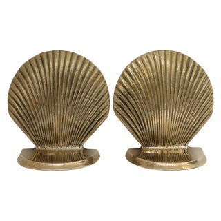 Vintage Brass Seashell Bookends - A Pair