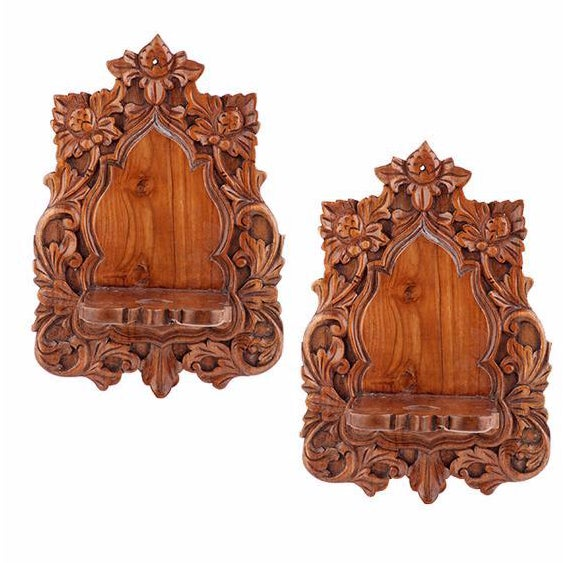 Image of Hand-Carved and Embellished Shelves - Pair