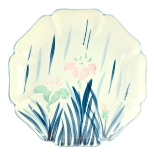 Hand-Painted Blue & Pink Iris Bowl
