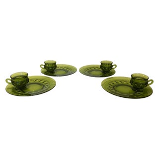 Vintage Avocado Green Glass Luncheon Set - 8