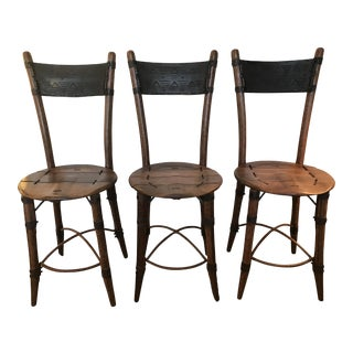 Pacific Green Palmwood Bar Stools - Set of 3