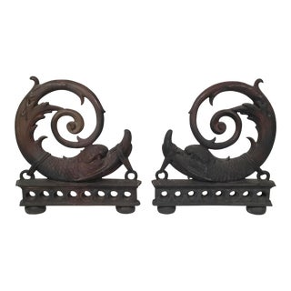 Pair of Neoclassical Bronze Dolphin Andirons