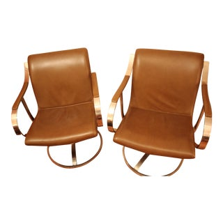 Steel Case Mid-Century Modern Leather & Chrome Office Chairs- A Pair