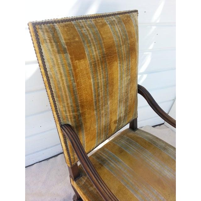 Antique Golden Velvet French Chair - Image 4 of 4