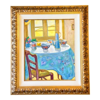 Blue Tablecloth Oil on Canvas Painting by Salut Carol