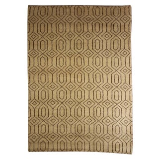 Tan Patterned Moroccan Rug - 5′4″ × 7′5″