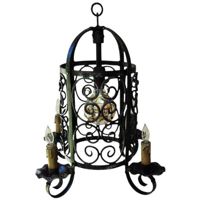 Art Deco Iron Chandelier Lantern - Image 1 of 4