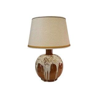 Brown Ceramic White Marshmallow Drip Glaze Lamp