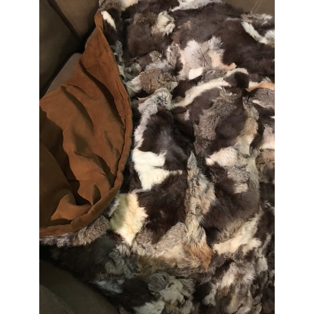 "Vintage Rustic Rabbit Fur Throw - 5'10"" x 7'6"" - Image 4 of 5"
