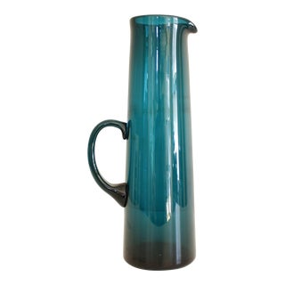 Gunnar Ander for Lindshammar Sweden Glass Serving Pitcher Teal Blue Mid Century