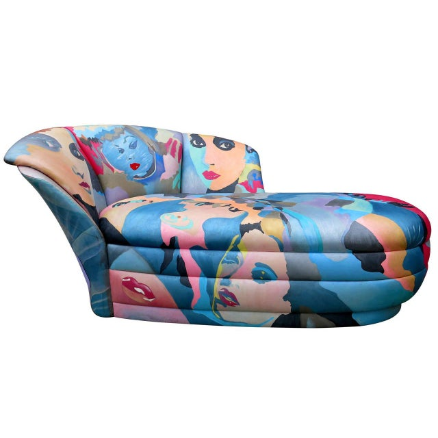 1980s Hand-Painted Chaise by Robert Fisch - Image 2 of 9