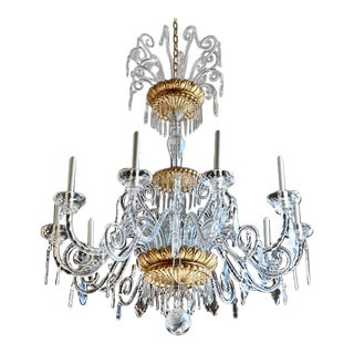 Monumental Italian Neoclassical Giltwood and Crystal Chandelier