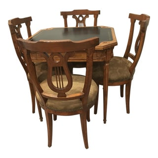 Antique Game Table and Chairs - Set of 5
