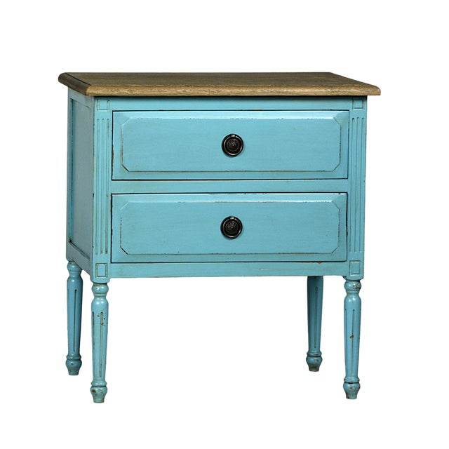 Teal Distressed Side Table - Image 1 of 2