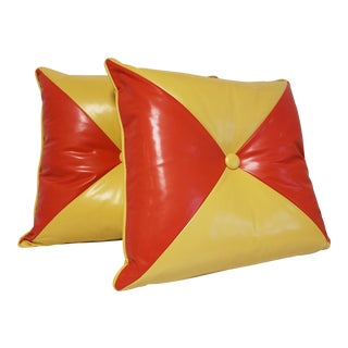 Mid-Century Orange & Yellow Patent Leather Decorative Pillows - A Pair