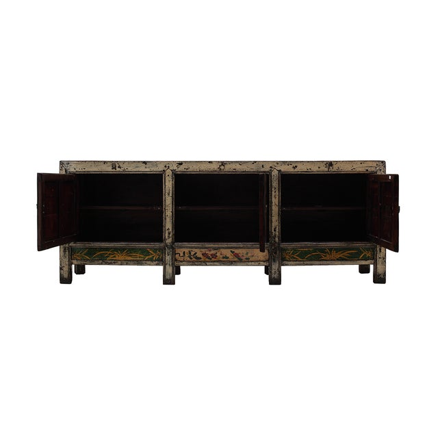 Image of Yellow White Lacquer Flower Long Sideboard Console