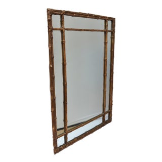 Hollywood Regency Wood Composite Faux Bamboo Mirror in Bronze Finish