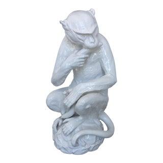 White Italian Monkey Sculpture