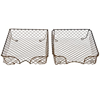 French Wire Letter Trays - a Pair