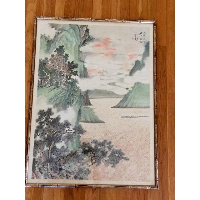 Image of Vintage Asian Seaside Painting