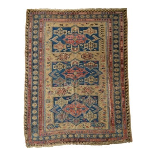 "Distressed Antique Caucasian Soumak Rug - 4'3"" x 5'8"""