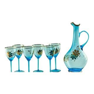 Sea Blue & Gold Leaf Decanter & Glassware Set - Set of 7
