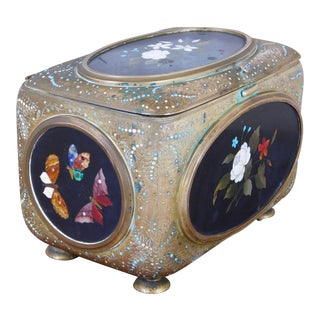 19th Century Pietra Dura Jeweled Jewelry Casket