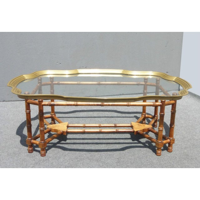 Mid Century LeBarge Style Scalloped Brass & Glass Top Faux