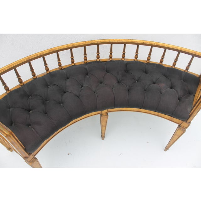 French Antique Curved Two Poster Giltwood Settee - Image 5 of 11