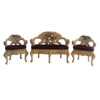 Asian Style Red Velvet Love Seat & Arm Chairs Set