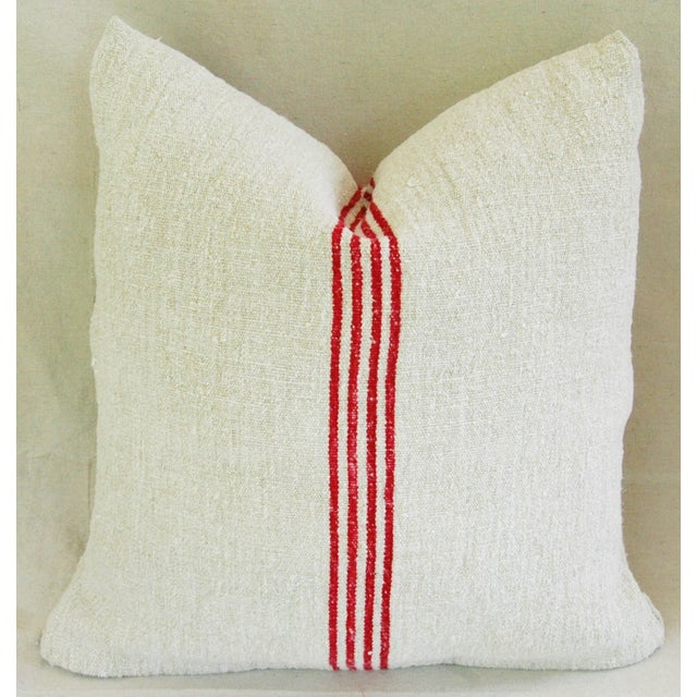 French Red Stripe Grain Sack Pillows - Pair - Image 5 of 9