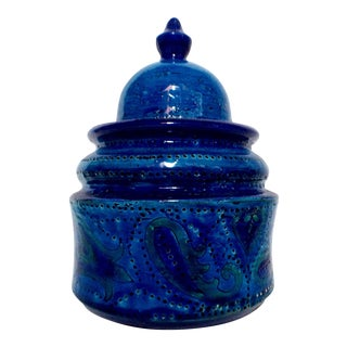 Bitossi Rimini Blue Ceramic Lidded Tobacco Jar