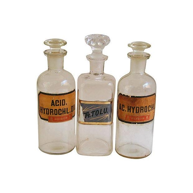 Image of Antique English Apothecary Bottles - Set of 3