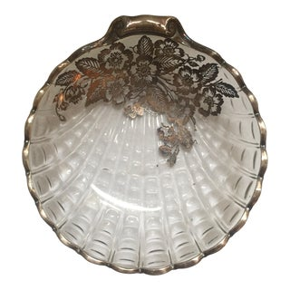 1950s Silver Overlay Crystal Shell Bowl