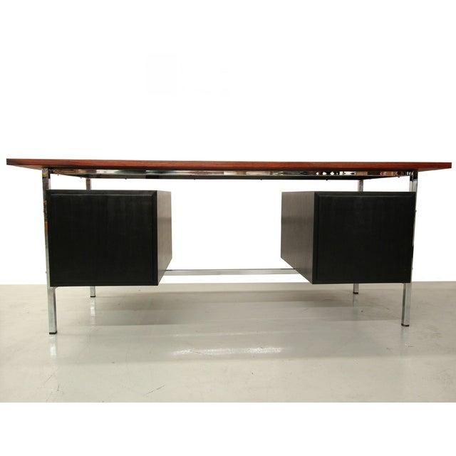 Mid-Century Floating Rosewood & Chrome Desk - Image 4 of 7