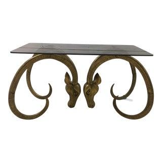 Mid-Century Brass Ibex Head Coffee Table