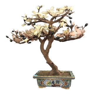 One Large Chinese Hardstone Tree In Chinoiserie Planter